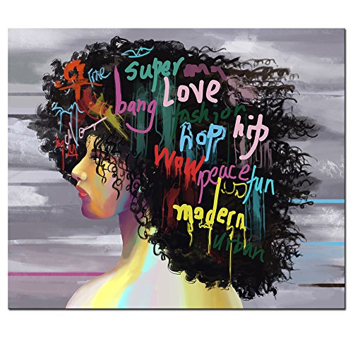 sechars - Fashion Wall Art African American Woman Art Painting Graffiti Style Picture Canvas Print for Bedroom Bathroom Salon Decor Modern Woman Poster Stretched and Framed Ready to Hang,-20x24inches