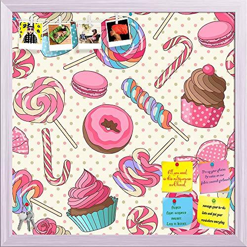 Artzfolio Yummy Lollipop Candy Printed Bulletin Board Notice Pin Board | White Frame 20 X 20Inch