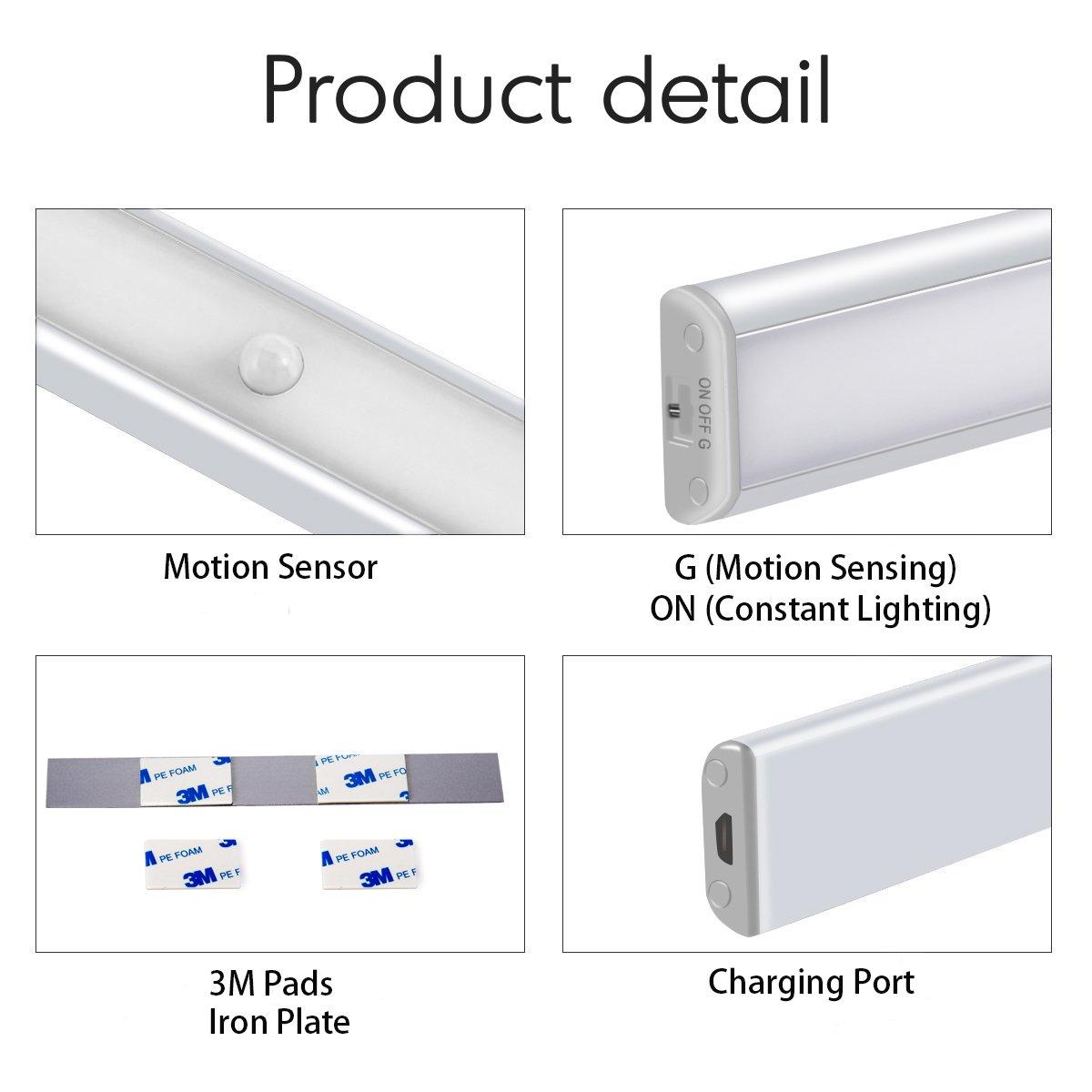 [nuevo] Sensor de movimiento luz para armario - JEBSENS T05 - 1 unidades USB Batería 10 LED funciona con pilas luces para gabinetes, escalera, pasillo, ...