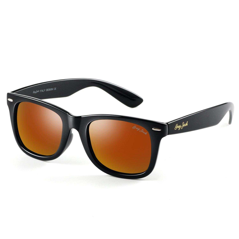a1f637da81a GREY JACK Classic Polarized Retro Square Horn Rimmed Design Sunglasses for  Men Women Black Frame Red Lens