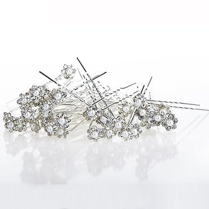 40PCS Wedding Hair Pins Crystal Pearl Flower Bridal Hairpins Hair AccessoriesHC