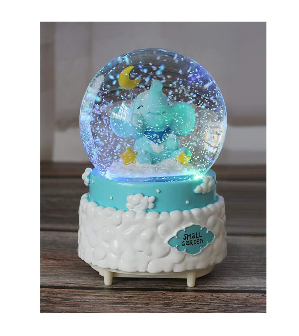 Nice Pies エレファント ミュージカル スノードーム クラフト 樹脂/ガラス クリスマス バレンタイン 誕生日 ホリデー 新年ギフト (直径 100mm、ブルー) B07M5VBK4J