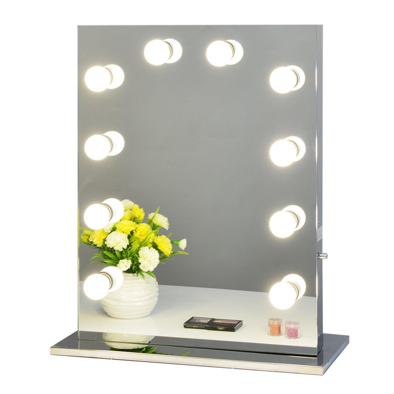 Chende Frameless Hollywood Tabletops Lighted Makeup Vanity Mirror with Dimmer Gift (6550, Frameless)