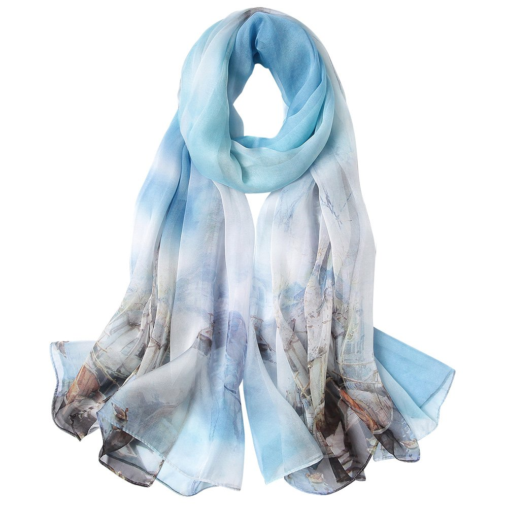 STORY OF SHANGHAI Womens 100% Mulberry Silk Scarf For Hair Ladies Scarf Shawl Gift