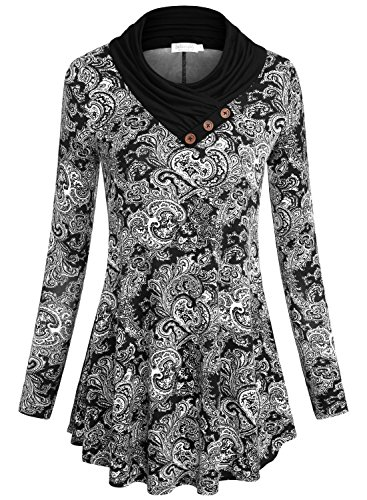 Baishenggt Tunic Shirt  Womens Long Sleeve Cowl Neck Loose Fit Casual Tunic Top Black Floral X Large