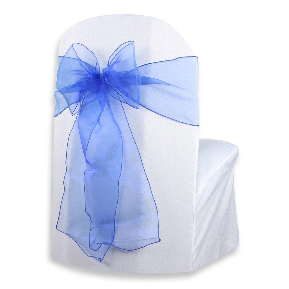 Sparkles Make It特別な50-pcs 108 x 8インチオーガンザ椅子カバー弓ウェディングサッシロイヤルブルー   B019XWWFE4