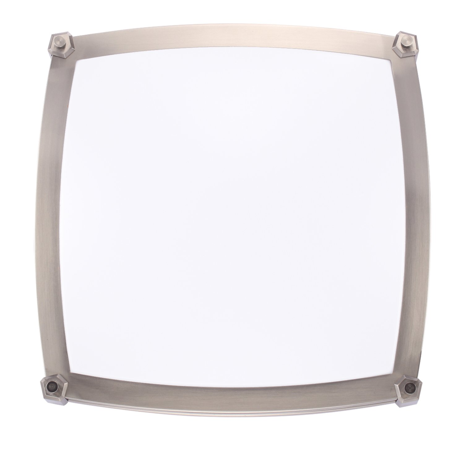 GetInLight LED Flush Mount Ceiling Light, 16-Inch, 25W(125W Equivalent), Brushed Nickel Finish, 4000K(Bright White), Dimmable, Square, Dry Location Rated, ...