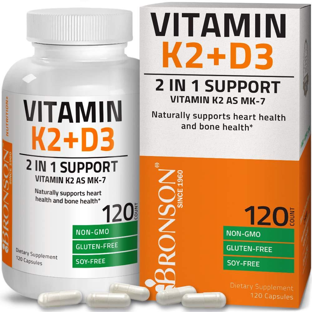 Vitamin K2 (MK7) with D3 Supplement - Bone and Heart Health Non GMO & Gluten Free Formula - 5000 IU Vitamin D3 & 90 mcg Vitamin K2 MK-7 - Small & Easy to Swallow - Vitamin D & K Complex, 120 Capsules