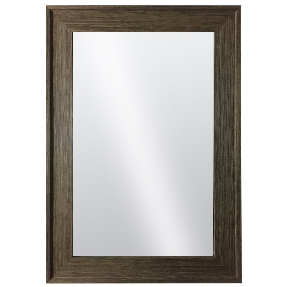 Hanging Framed Wall Mounted Mirror By Raphael Rozen: Classic, Elegant Rectangular, Distressed Wood Finish Brushed Olive Colored Frame Perfect For Bathrooms and Interior Living Spaces