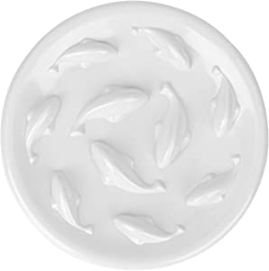 MSBC Pet Slow Feed Dish for Cats and Small Dogs - Fish Pool Design, Fun Interactive Bloat Stop Puzzle Feeder Bowl Healthy Eating Diet Food Grade Material Easy to Clean Dishwasher Safe (White)