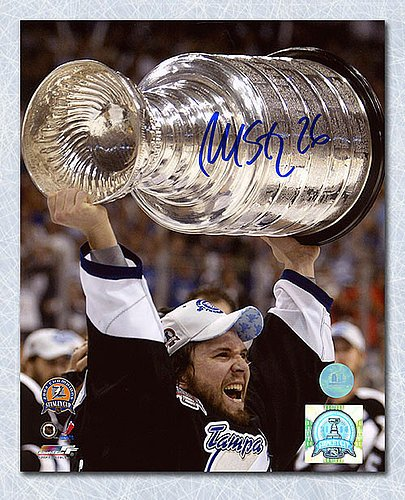Martin St. Louis Lightning Autographed 8X10 Photo 2004 Cup Photo Autographed Hockey Photos