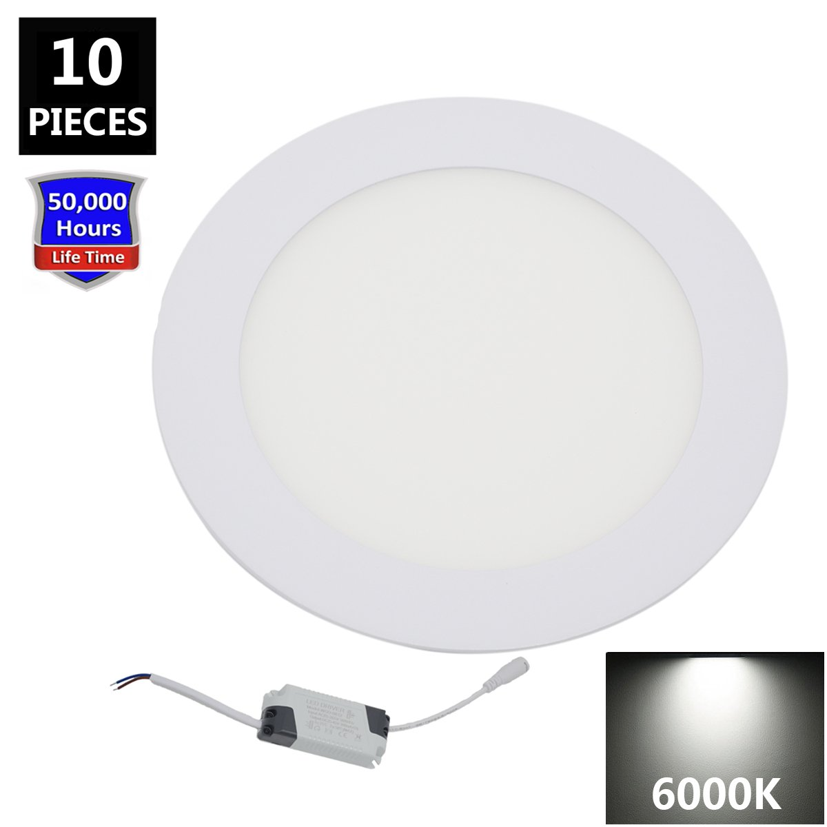 15W 6 Inch Recessed LED Ceiling Light, Ultra-thin LED Downlight, 1200LM 6000K Cool White, Indoor lighting Round led panel light, 100w Equivalent for Home Kitchen (Pack of 10)
