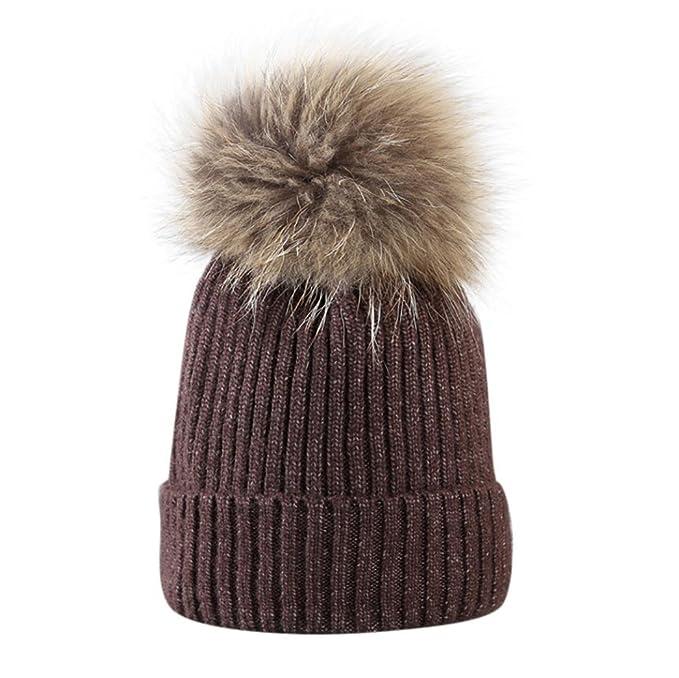 URSING Wintermütze mit großer Pelz Bommel Pompon Frau Mädchen Hut ...