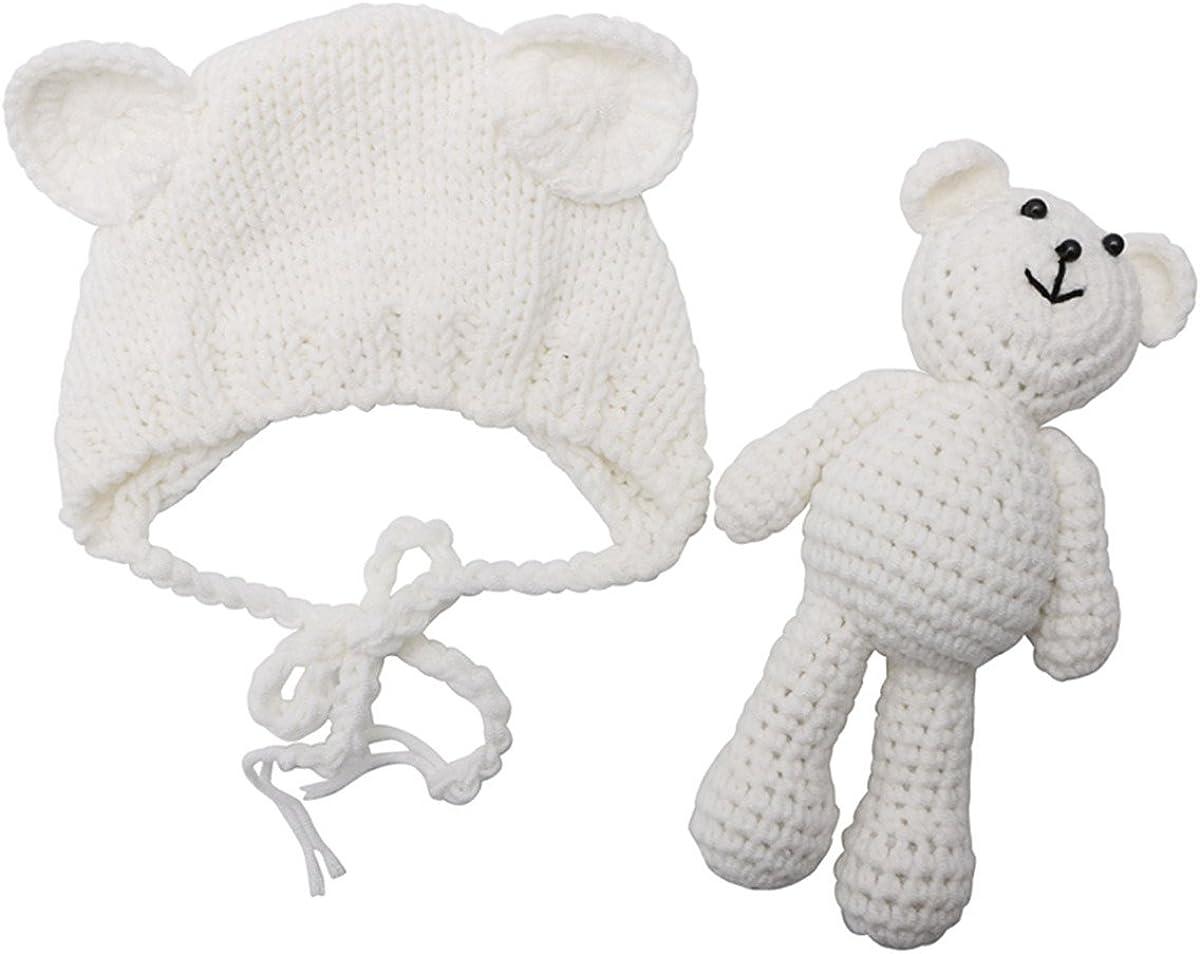 ECYC Newborn Baby Bear Hat Beanie with Bear Dolls Photography Accessories,White