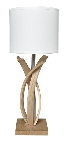 vendu dans le monde entier couleur attrayante nouveau style de 2019 Lampe de table design en bois et abat jour blanc Alice ...