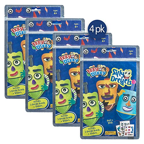 Izzy 'n' Dizzy Silly Dreidels - 4 Pack of 3 Dreidels Boards and Stickers - Hanukkah Arts and Crafts - Gifts and Games ()