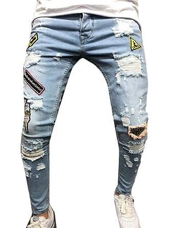 Amazon.com: Jmwss QD - Pantalones vaqueros para hombre con ...