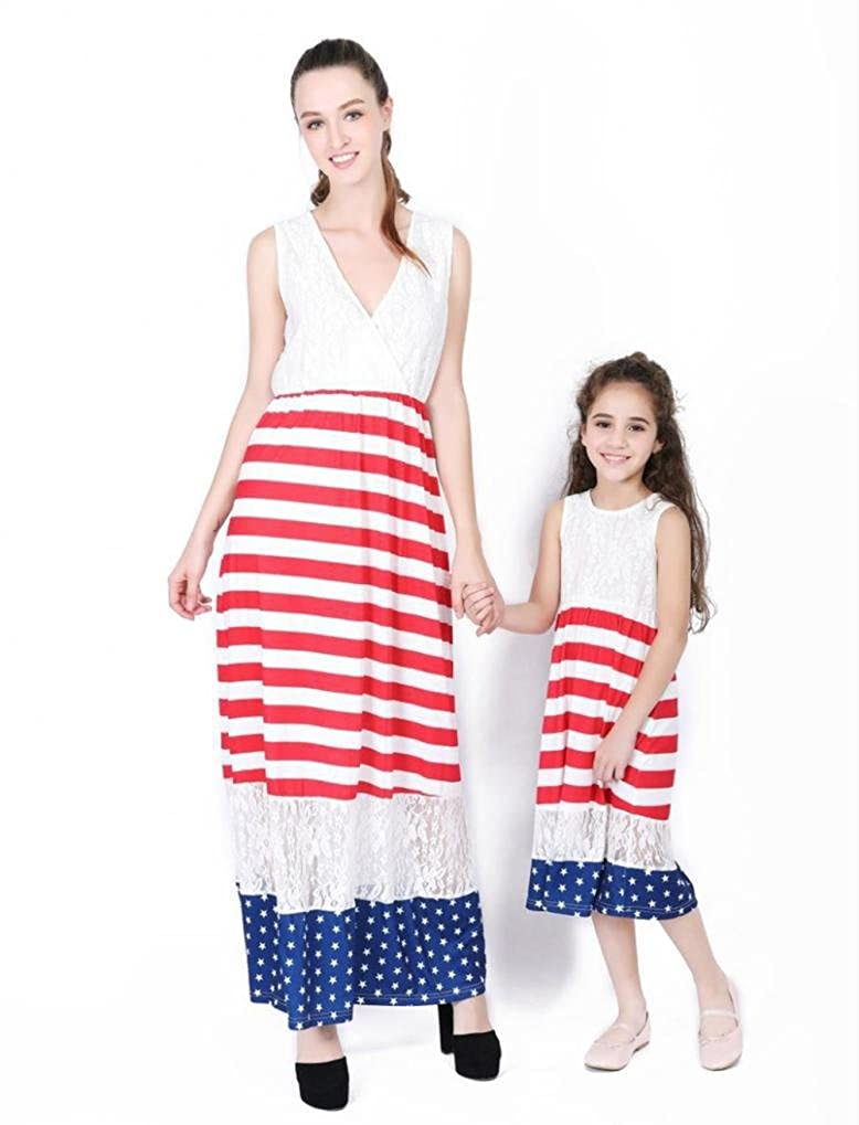 Hatoys Mom and Daughter 4th of July Sundress,Family Dress Matching,Mom Me Dress