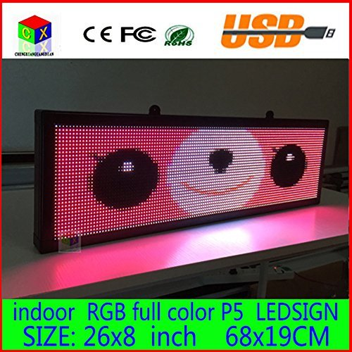 26X8 inch P5 indoor full color LED display scrolling text Red green blue white yellow and blue orange LED display ()