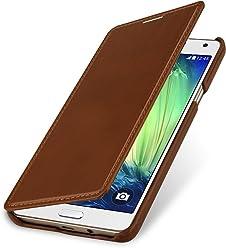 StilGut Book Type sans Clip, Housse en Cuir pour Samsung Galaxy A7 (2015). Etui de Protection de Cuir véritable à Ouverture latérale, Cognac