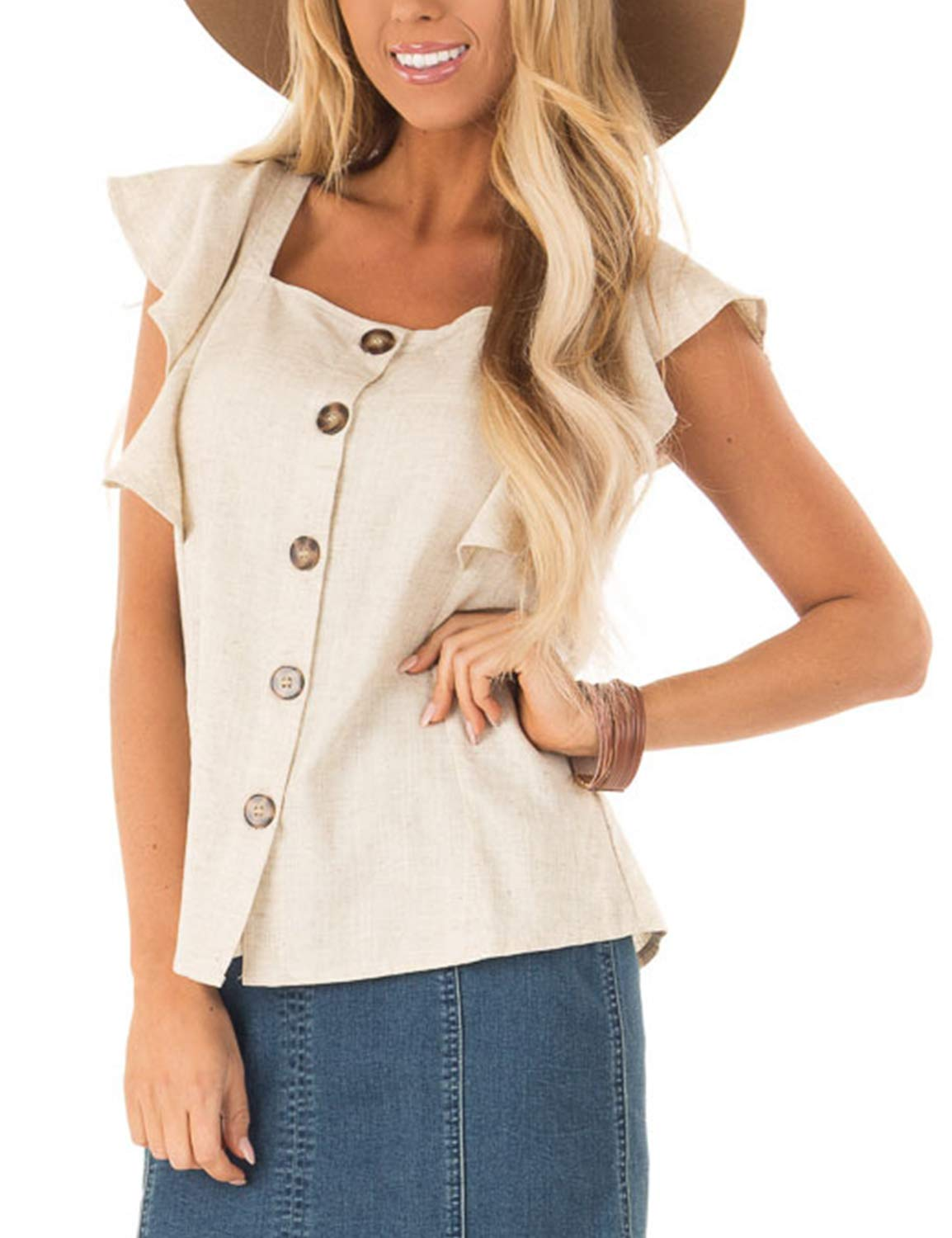 BMJL Women's Square Neck T Shirt Chiffon Ruffed Sleeves Basic Shirt Loose Casual Top Buttons M Beige