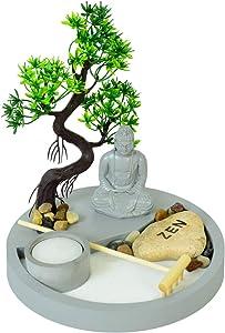 HOMELEX Tabletop Zen Rock Garden Meditating Statue Bell Rake Sand Candle Burner Tray Home Décor (SCZ-12)
