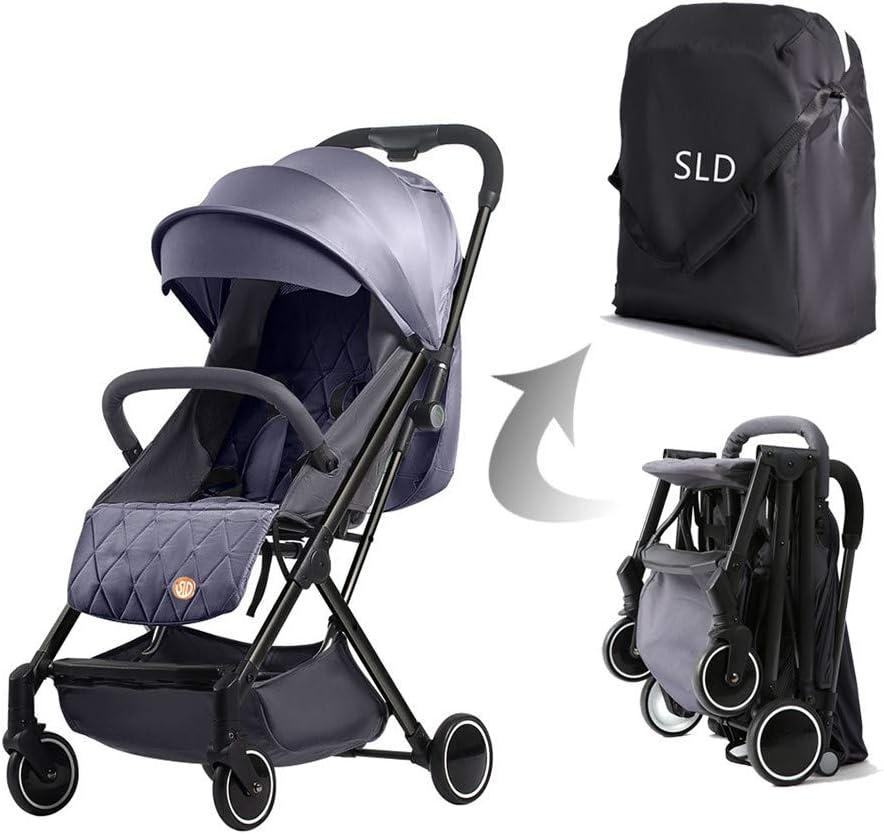 عربة تكنوم للأطفال خفيفة بمقعد واحد – لون رمادي/أسود