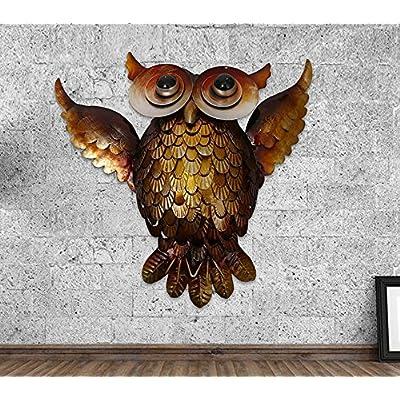 15.7'' Metal Owl Wall Hanger Wall Art Yard Outdoor Lawn Garden Decor : Garden & Outdoor