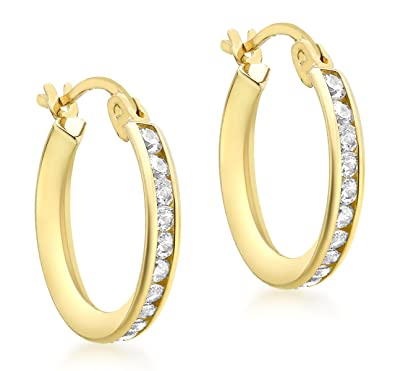 Carissima Gold Women's 9 ct Yellow Gold 16 mm Cubic Zirconia Creole Earrings srTvckH