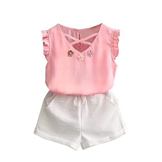 6005f125fd5 Vovotrade 2PCS Toddler Baby Kids Girl Outfit Clothes Chiffon Vest  T-Shirt+Shorts Pants