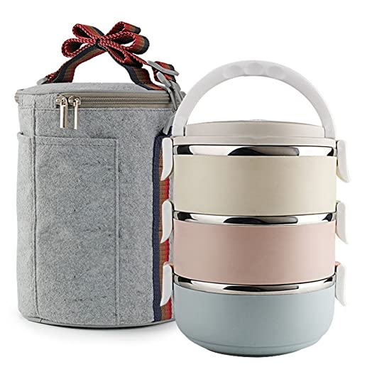 Stainless Steel Food Storage Container Lunch Box With 3 Stackable Round Bowls Lid Of
