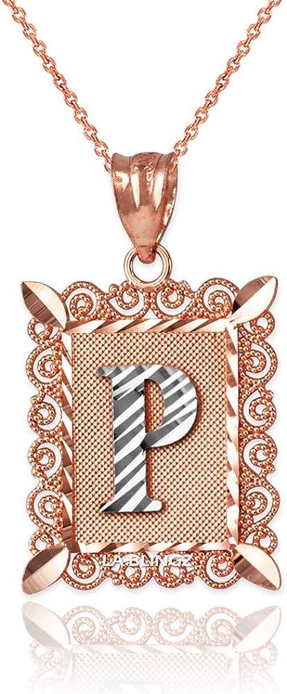 LA BLINGZ 14K Rose Gold Filigree Alphabet Initial Letter P DC Pendant Necklace
