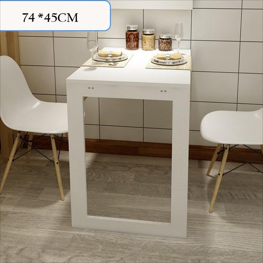 YNN 折りたたみ式壁掛け型ドロップリーフテーブル、多機能コンピュータデスク子供用テーブルデスク、キッチンダイニングテーブル、壁掛けテーブル、折り畳み式フォトフレーム (色 : 白, サイズ さいず : 74*45CM) B07DS46QG3 74*45CM|白 白 74*45CM
