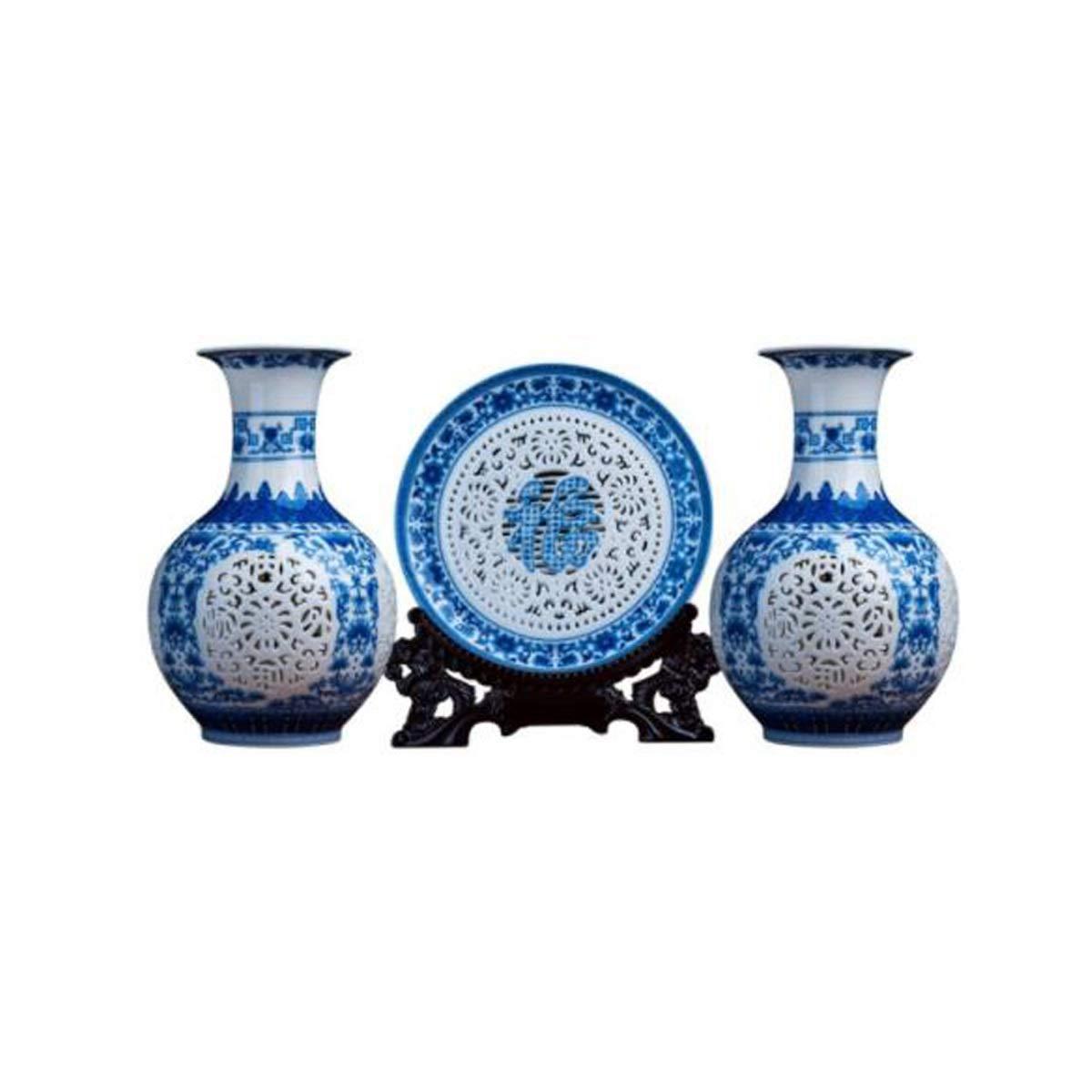 陶磁器の装飾品、景徳鎮の陶器、中空花瓶の装飾、居間のスリーピースの装飾工芸品、中国の家庭用ワインキャビネットのポーチ、青と白の天の瓶スリーピース (Edition : B) B07SJNS777  B