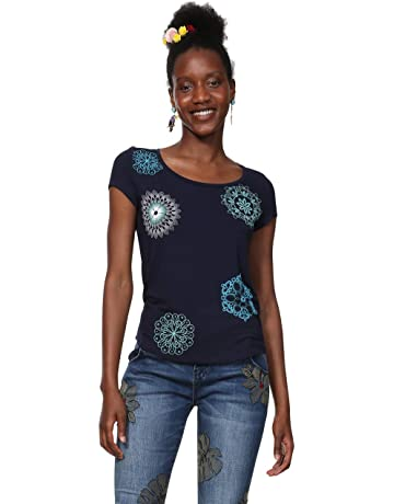 d43ebb471c8 Desigual T-Shirt Short Sleeve Sonja Woman Blue Camiseta para Mujer