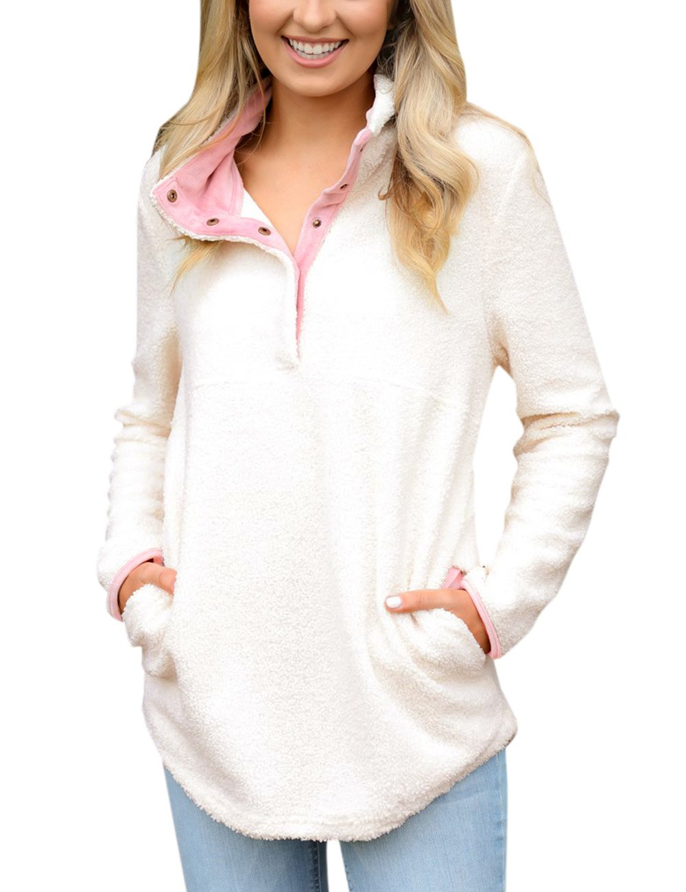GRAPENT Women's Casual Long Sleeves Stand Collar Buttons Pockets Fleece Pullover Beige Size XL ( Fit US 16 - US 18 )