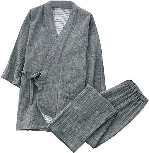 Trajes De Estilo Japonés De Los Hombres De Algodón Kimono Pijamas ...