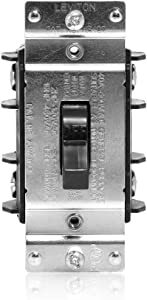 Leviton MS402-DS 40 Amp, 600 Volt, Double-Pole, Single Phase AC Motor Starter, Suitable as Motor Disconnect, Toggle, Industrial Grade, Non-Grounding, Black