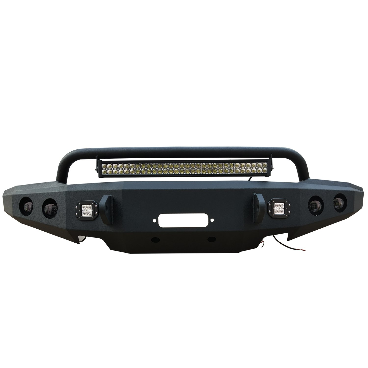 2015-2017 Ford F150 Front Bumper Full-Width w/ Winch Mount & 2 x D-rings & Lights for Ford F150