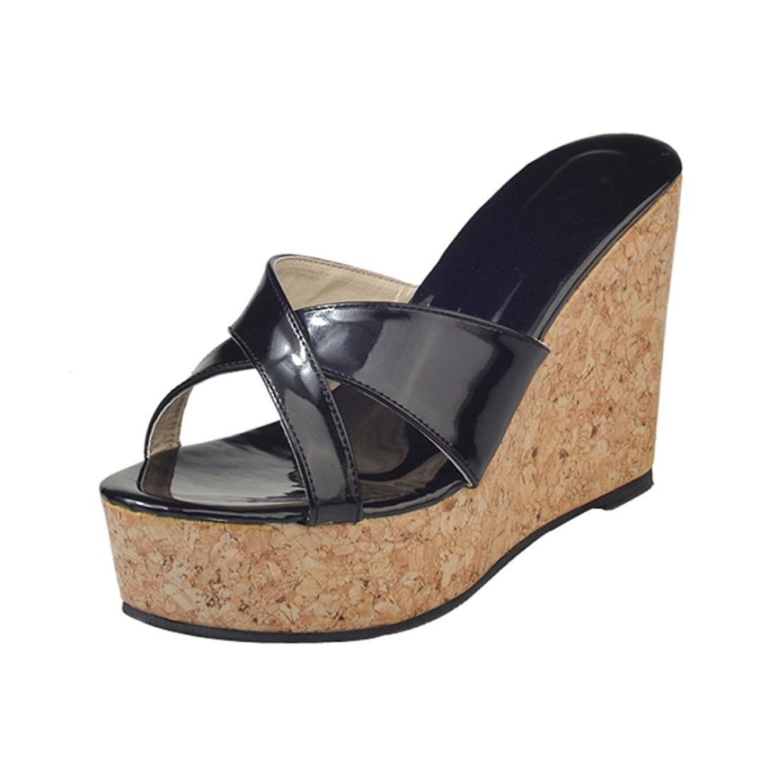 c315e33b83a0 DENER Women Ladies Black Wedge Platform Sandals