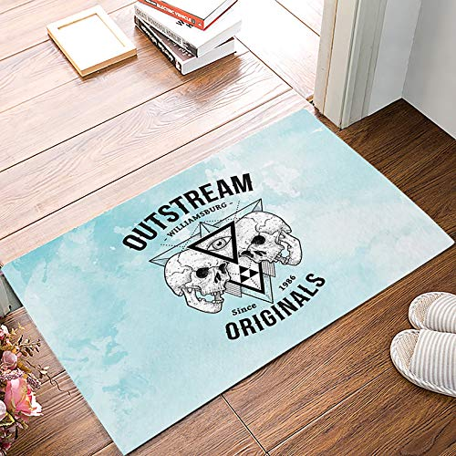Front Door Entrance Way Doormat Out Stream Williamsburg Skull Door Mats Non Slip Rubber Backing Remove Shoes Rugs Machine Washable Low Profile Carpet 18