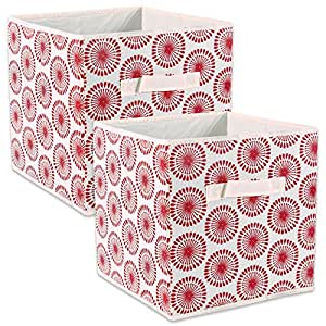 "DII Fabric Storage Bins for Nursery, Offices, & Home Organization, Containers Are Made To Fit Standard Cube Organizers (11x11x11"") Starburst Tango Red - Set of 2"