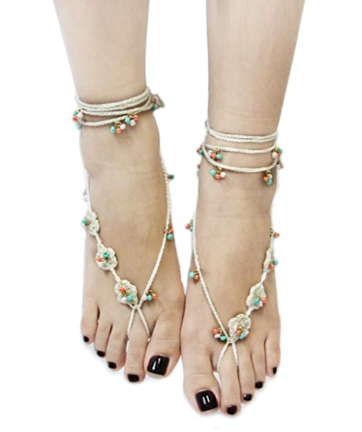 Handmade Bohemian Style Crochet Barefoot Sandals (Sold As Pair)