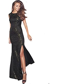 Michelle Keegan Lipsy VIP Style Sequin Gold Black Lace Panel Maxi Dress RRP £75
