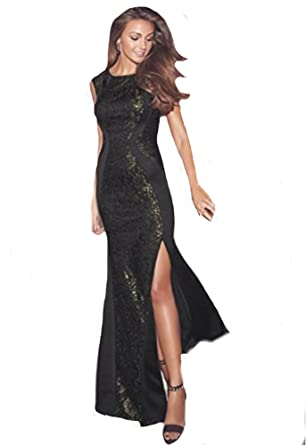 383223c5 Lipsy Michelle Keegan VIP Style Sequin Gold Black Lace Panel Maxi Dress RRP  £75 (UK Size 10): Amazon.co.uk: Clothing