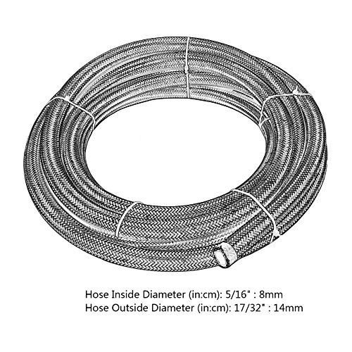 Mouchao AN4 AN6 AN8 AN10 Tuyau de Carburant tress/é en Nylon Flexible de 1 m/ètre r/ésistant /à la Chaleur