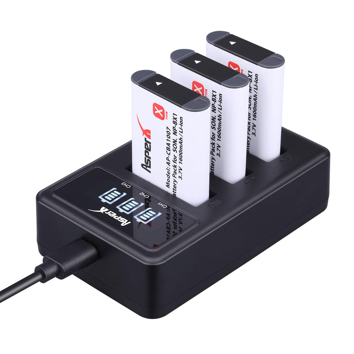 NP-BX1 Camera Battery-Asperx 3 Pack NP-BX1 Batteries and Charger Compatible with Sony DSC-RX100M III, DSC-RX1, DSC-RX100 V, DSC-HX300, HDR-CX240, HDR-PJ275, HDR-AS30V, HDR-CX440, HDR-CX40 Cameras by AsperX