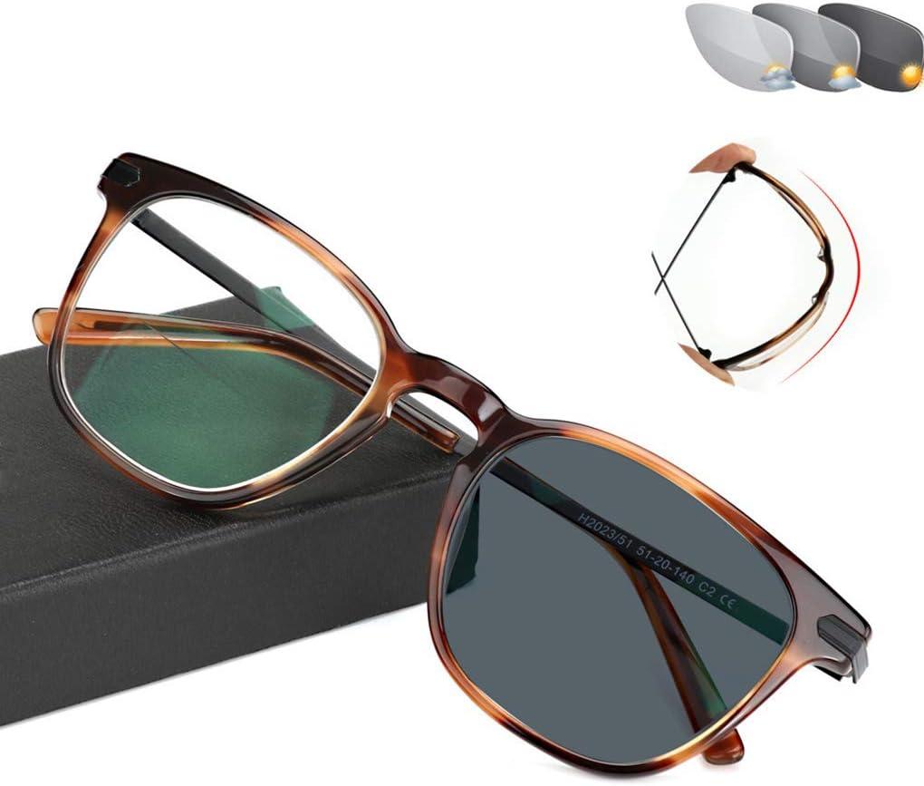 LYHD Gafas de protección contra Rayos UV, Gafas ópticas Sin Receta Gafas de Sol, Cambio de Color en el Exterior, para Hombre/Mujer