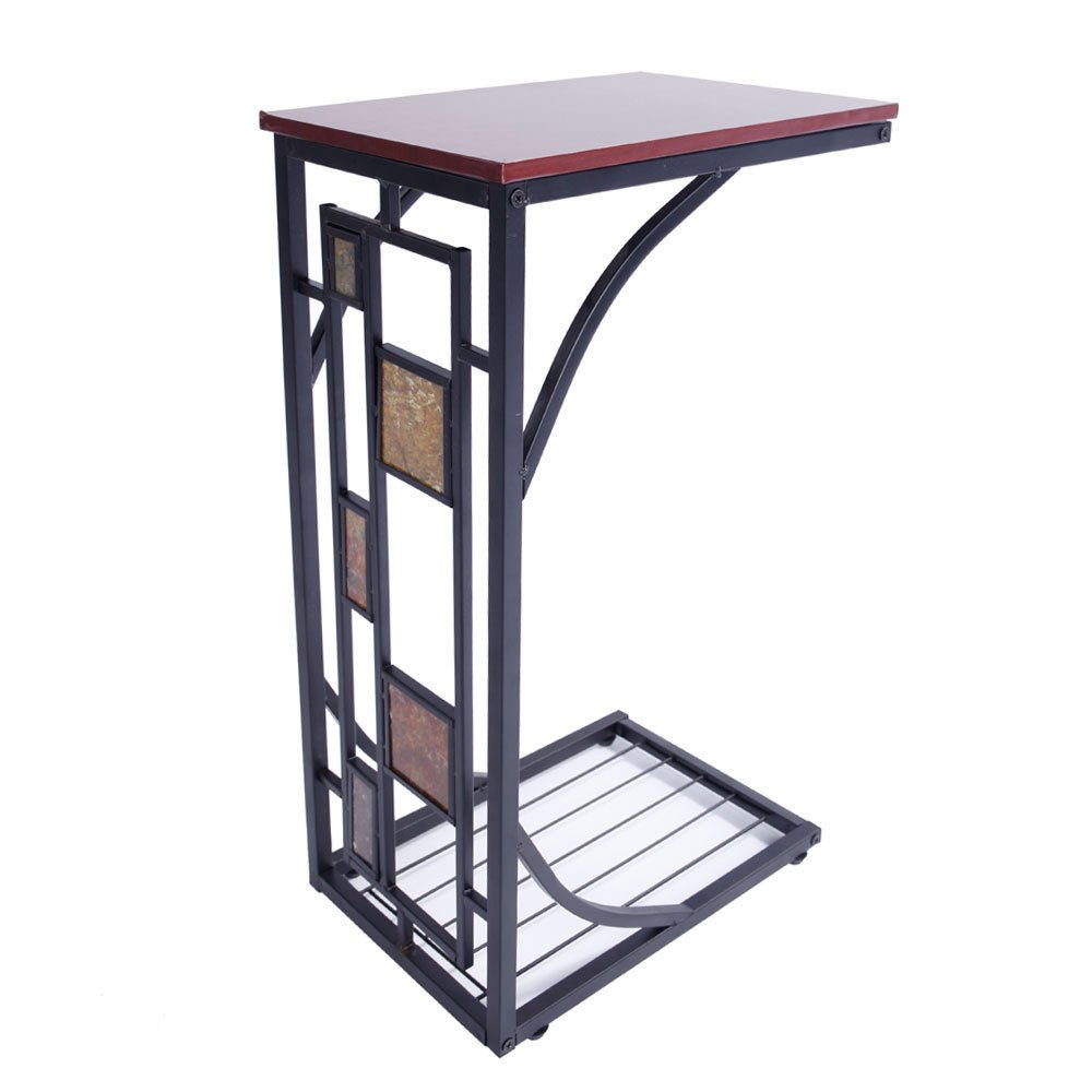C Shaped Coffee Tray Sofa Side End Table Lap Stand TV Snack Ottoman Couch Room