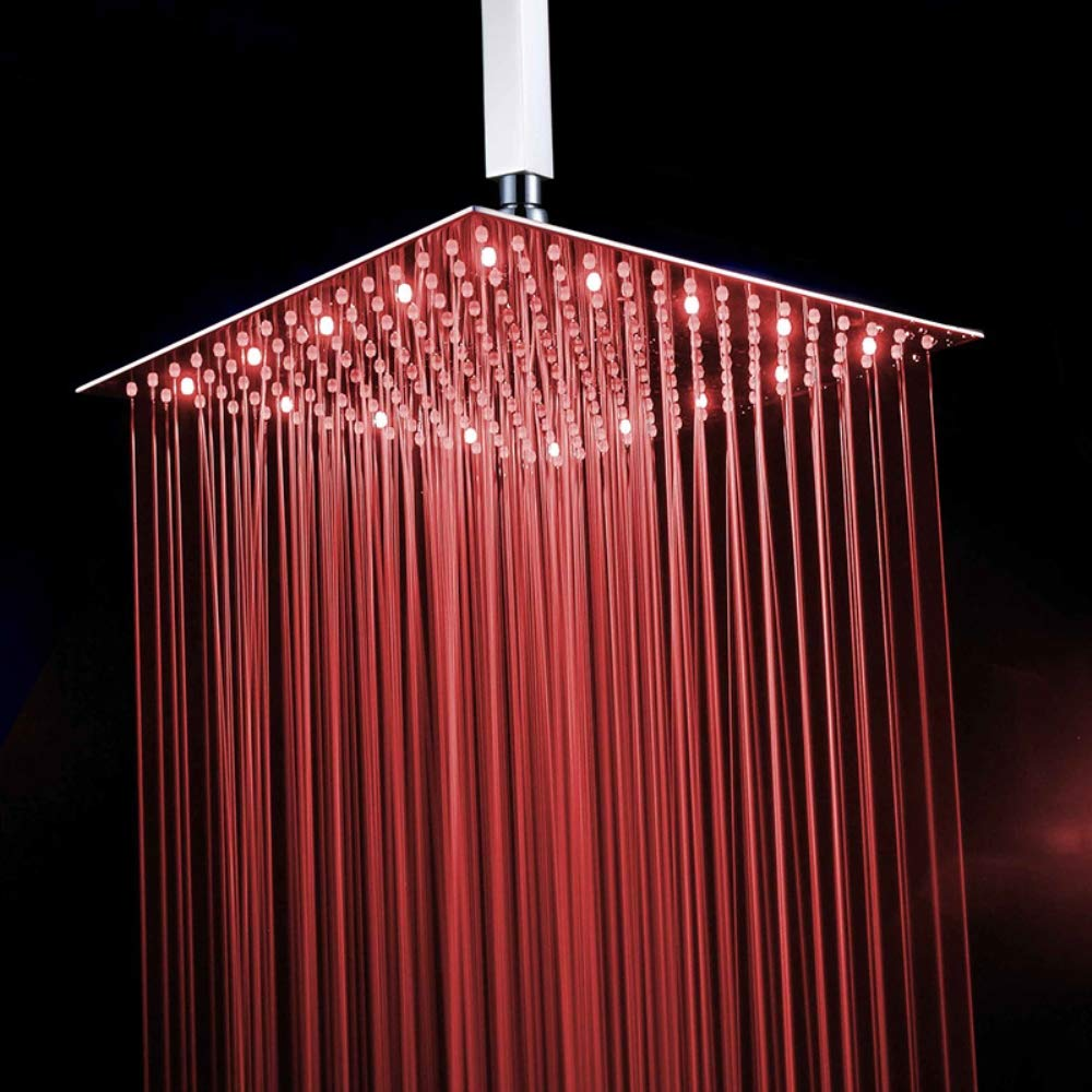 LUCKYJIE LED Top Spray Shower, Bathroom Top Spray Square Shower Head 3 Colorful Temperature Controlled Bath Ceiling Mounted LED 16-Inch Top Rainfall Shower Faucet by LUCKYJIE